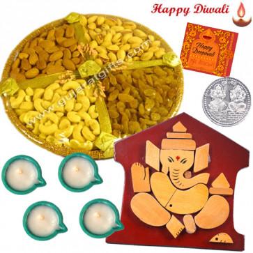 Elegant Puja Hamper - Ganesha Wooden Slab, Assorted Dry Fruit Basket with 4 Diyas and Laxmi-Ganesha Coin