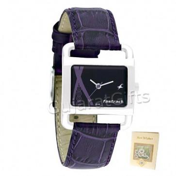 Fastrack Watch Black Dial Lavender Strap