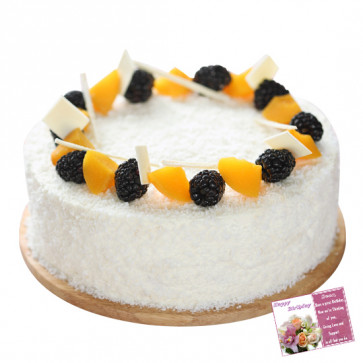 Five Star Bakery - White Forest Cake 1 kg and Card