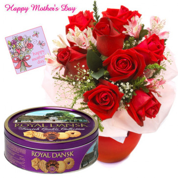 For Dear Mom - 12 Red Roses Vase, Danish butter cookies and Card