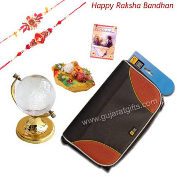 For Dearest Brother - Crystal Globe + CD Holder with 2 Rakhi and Roli-Chawal