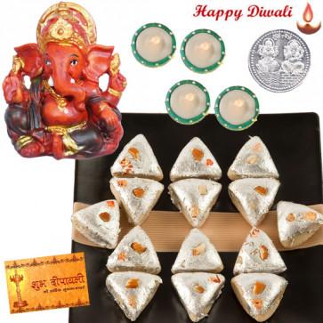Ganesha Puja Hamper - Red Ganesha, Kaju Pan with 4 Diyas and Laxmi-Ganesha Coin