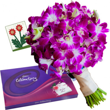 Gentle Love - 6 Purple Orchids + Cadbury Celebration 200 gms + Card