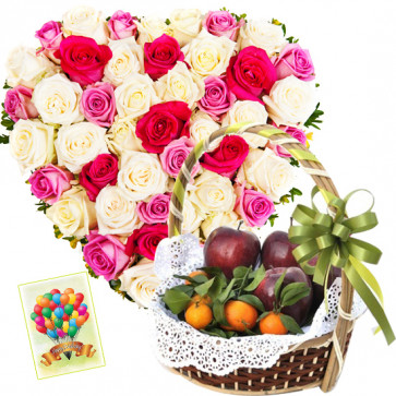Hearty Fruit Combo - Heart Shaped Arrangement of 30 Roses, 2 Kg Mix Fruits in Basket and Card