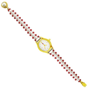 Red Stone Pearl Watch