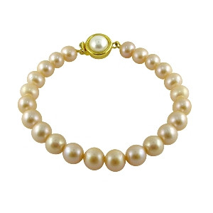 Single Line Peach Pearl Bracelet