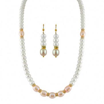 Seven Peach Pearl Necklace
