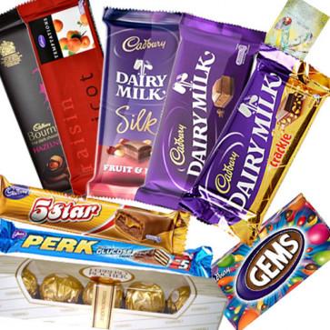 Jumbo Treat - Ferrero Rocher 5 pcs, Temptations, Bournville, Perk, 5 Star, Cadbury Dairy Milk (L), Cadbury Dairy Milk Fruit n Nut, Cadbury Dairy Milk Crackle, Gems & Card