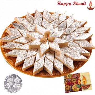Kaju Katli with Laxmi-Ganesha Coin