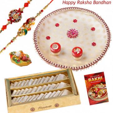 Kaju Leaf - Kaju Katli, Puja Thali (W) with 2 Rakhi and Roli-Chawal