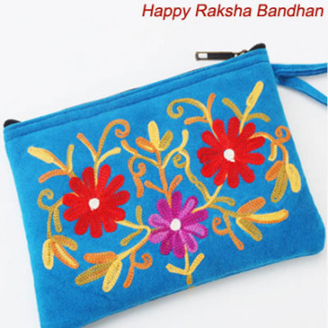 Kashmiri Blue Leather Pouch