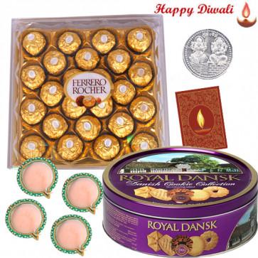 Khatta-Meetha - Ferrero Rocher 24 pcs, Danish Cookie with 4 Diyas and Laxmi-Ganesha Coin