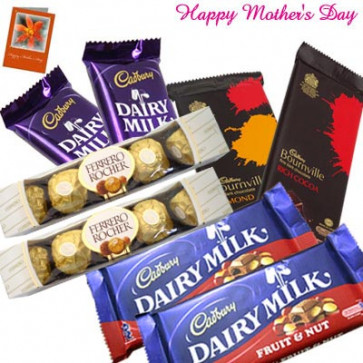 Lots of Chocolates - 2 Ferrero Rocher 5 Pcs, 2 Fruit n Nut, 2 Bournvilles, 2 Dairy Milks and Card