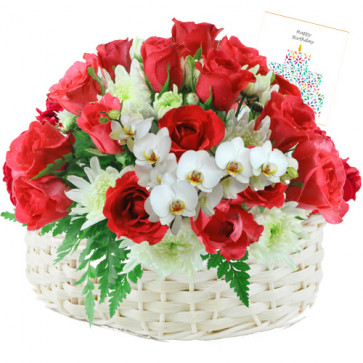 Lovely Flowers - 30 Red Roses With White Glads Basket + Card
