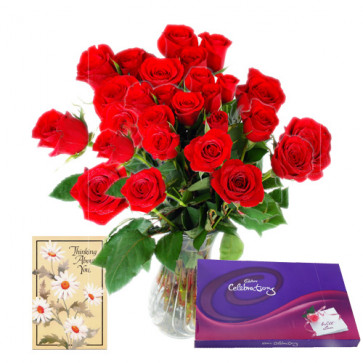 Loving Thoughts - 25 Red Roses in Vase + Cadbury Celebration 128 gms + Card