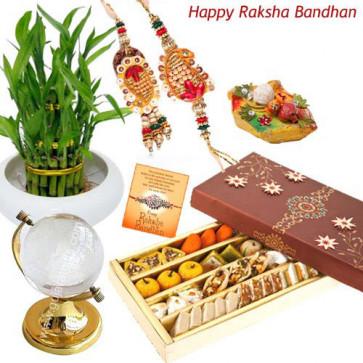 Luck for the Couple - Crystal Globe + Bamboo Plant + Kaju Mix 250 gms with Bhaiya Bhabhi Rakhi Pair and Roli-Chawal