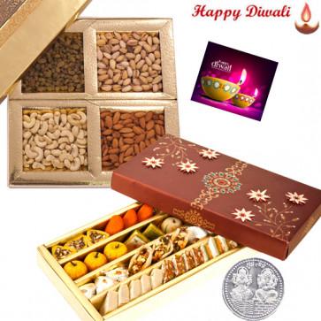 Mahotsav Treat - Kaju Mix 250 gms, Assorted Dry fruits 200 gms with Laxmi-Ganesha Coin