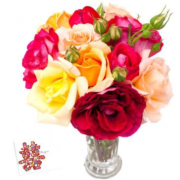 Mix Roses - 25 Artificial Mix Roses + Card
