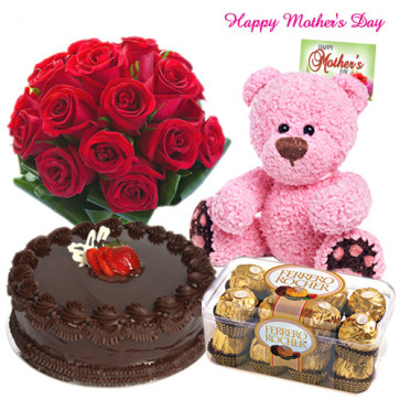 My Special Mom - 12 Red Roses bouquet, 1/2 Kg Delicious Cake, Ferrero Rocher 16 pcs, 6 inch Teddy and Card