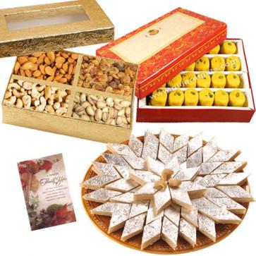 Nice Hamper - Kaju Katli, Kesar Penda, Assorted Dryfuits