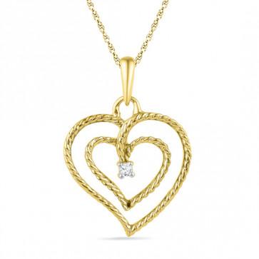 Valentines Special Double Heart Diamond Pendant