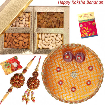 Perfect Couple Thali - Puja Thali (O), Assorted Dry Fruits 200 gms with Bhaiya Bhabhi Rakhi Pair and Roli-Chawal