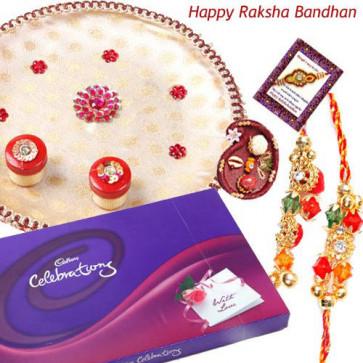 Precious Bond Thali - Puja Thali (W), Celebrations with Bhaiya Bhabhi Rakhi Pair and Roli-Chawal