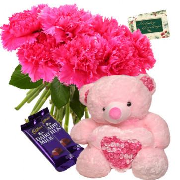 Premium Arrangement - Bouquet Of 12 Pink Carnations + 6 Inch Teddy + 2 Dairy Milk + Card