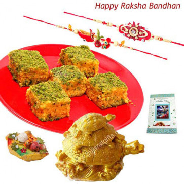 Rakhi Gifts - Triple Tortoise + Badam Barfi with 2 Rakhi and Roli-Chawal
