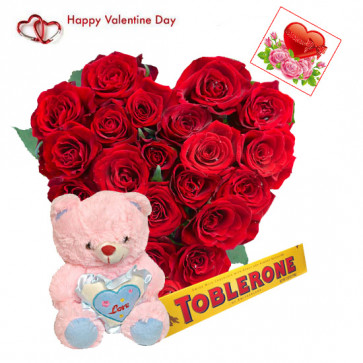 """Red Heart & Teddy - 30 Red Roses Heart + Teddy with Heart 8"""" + Toblerone 50 gms + Card"""