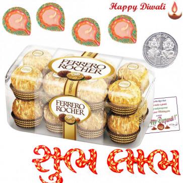 Religious Hamper - Shubh Labh Pair, Ferreo Rocher 16 pcs with 4 Diyas and Laxmi-Ganesha Coin