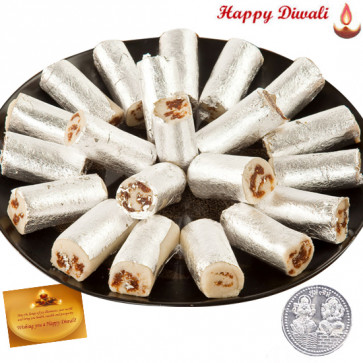 Roll Treat - Kaju Anjir Roll 500 gms with Laxmi-Ganesha Coin