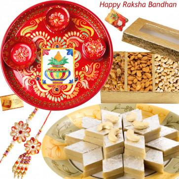 Royal Pair Thali - Meenakari 6inch, Kaju Katli 250 gms, Assorted Dry Fruit 200 gms with Bhaiya Bhabhi Rakhi Pair and Roli-Chawal
