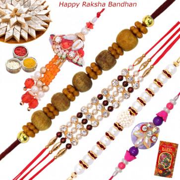 Set of 5 Rakhis - American Diamond with Sandalwood, Lumba, Pearl and Fancy Rakhis