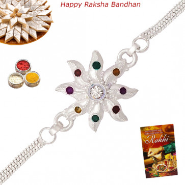 Floral Silver Plated Rakhi