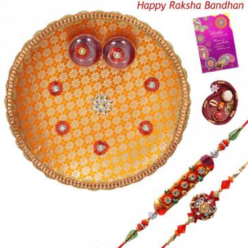 Shubh Rakhi Thali - Puja Thali - Orange with 2 Rakhi and Roli-Chawal