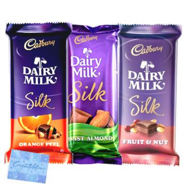 Silk Hamper - Cadbury Dairy Milk Silk Fruit & Nut, Cadbury Dairy Milk Silk Chocolate, Cadbury Dairy Milk Silk Roast Almond & Card