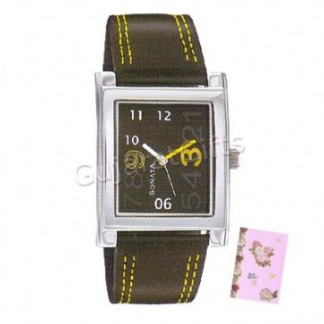 Sonata Watch Black & Silver Dial Black Strap