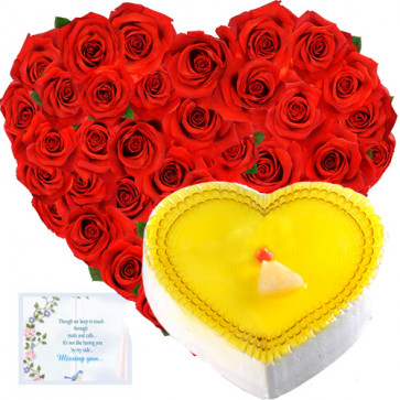 Sweet Heart - 50 Red Roses Heart Shaped Arrangement + Pineapple Heart Cake 1 kg + Card