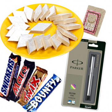Sweet Present - Kaju Katli, Parker Pen Steel, Snickers, Mars, Twix, Bounty and Card