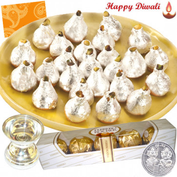 Sweet Regards - Kaju Kalash, Ferrero Rocher 5 pcs, Silver Diya 10 gms with Laxmi-Ganesha Coin