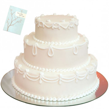 Three Tier Vanilla Cake 4 Kg + Card