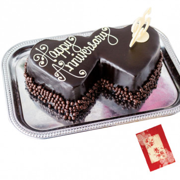 Double Heart Shaped Chocolate Cake 3 Kg + Card