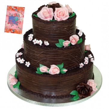 Three Tier Chocolate Cake 4 Kg + Card