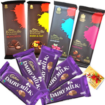 Treat of Chocolates - 4 Bournville, 5 Dairy Milk & Card