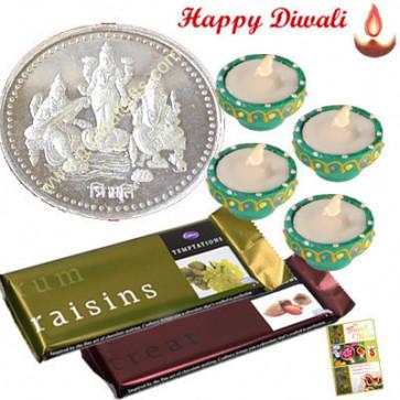 Trimurti Hamper - Silver Trimurti Coin 10gms, 2 Temptations with 4 Diyas