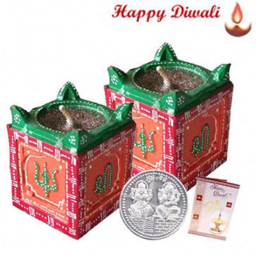 Tulsi Diya - 2 Tulsi Diyas with Laxmi-Ganesha Coin