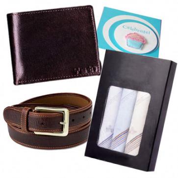 Wonderful Combo - Wallet, Belt, Set of 3 Handkerchief and Card