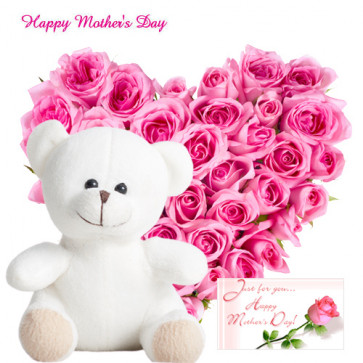 """Adoring Pink - Heart Shape Arrangement of 25 Pink Roses, Pink Teddy 6"""" and Card"""