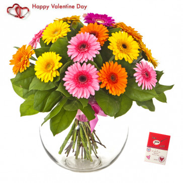 Mix Gerberas - 30 Artificial Mix Gerberas Vase + Valentine Greeting Card